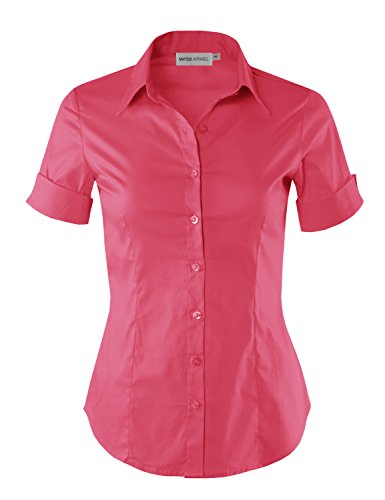 MAYSIX APPAREL Short Sleeve Stretchy Button Down Collar Office Formal Shirt Blouse for Women HOTPINK L