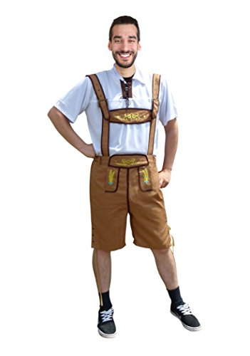 Dirndl World Mens Shorts, Lederhose, Trousers with white Shirt, Oktoberfest Outfit, Size: XL, Omh01