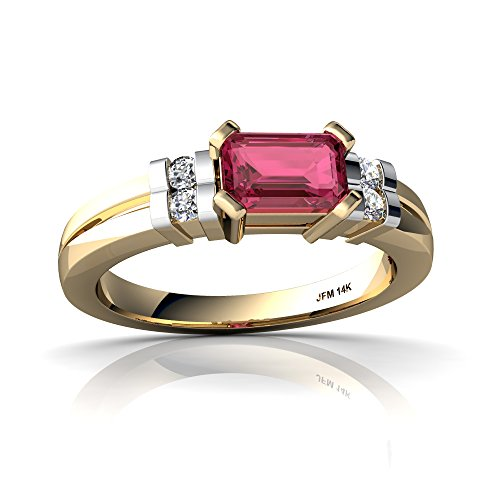 14kt Yellow Gold Pink Tourmaline and Diamond 6x4mm Emerald_Cut Art Deco Ring - Size 6