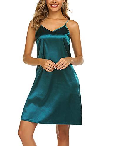 Avidlove Women Satin Nightgown Slip Chemise Sleepwear Soft Lingerie Nightwear (XL, Green) ()