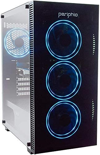 Periphio Blue Gaming PC Tower Desktop Computer, Intel Quad Core i5 3.4GHz, 16GB RAM, 120GB SSD + 1TB 7200 RPM HDD, Windows 10, Nvidia GT1030 Graphics Card, RGB, HDMI, Wi-Fi (Renewed)