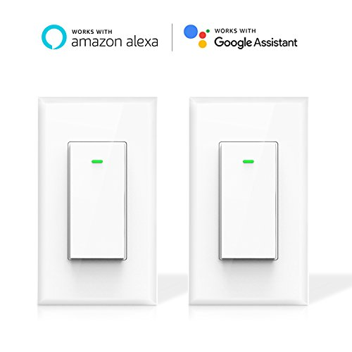 Maxcio Smart Wi-Fi Light Switch, No Hub Required, Works with Amazon Alexa and Google Assistant, Remote Control/Schedule Your Fixtures Anywhere - 15A (Neutral Wire Required) - 2 Packs (15a Remote)