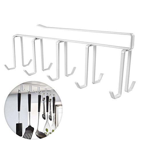 Up Cabinet Organizer | Multi-use Space-Saving Under-the-Shelf Mug Holder Hanging Drying Rack with 10 Hooks | Durable Rustproof Carbon Steel for Glass Cup Pantry Kitchen Tool Storage | 1389