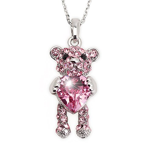 """Teddy Girl Pink (DJ Hannah Necklace for Girls & Women """"Teddy Bear"""" Pendant with Pink Swarovski Heart Crystal and Moving Head and Legs)"""