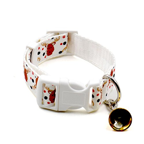 [Dog Collar, Bolayu Christmas Design Christmas Pet Collars (L, White)] (Cute Halloween Names For Kittens)