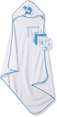 Little Beginnings Dino Print Hooded Towel and Washcloths Gift Set, Blue by Little Beginnings