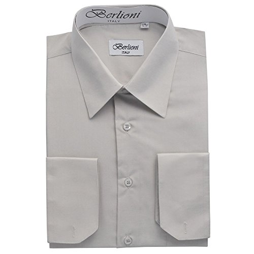 Berlioni Italy Men's Convertible Cuff Solid Dress Shirt Silver-L (16-16½) Sleeve 34/35