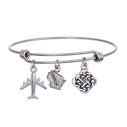 JJTZX State Bangle U.S. Map Charm Expandable Travel Bracelet Long Distance Relationship Gift Best Friends Bracelet (Wisconsin)