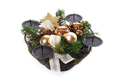 Heitmann Deco 91813 Advents-Kerzenhalter und Gesteck für 4 Kerzen, Metall, gold / kupfer, 21 x 21 x 10 cm