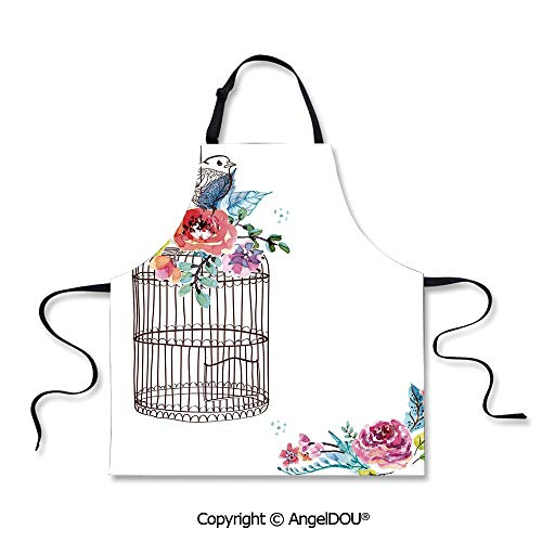 SCOXIXI Waterproof Kitchen Aprons Woman Adult Sketch of a Bird on an Empty Cage with Colorful Flowers Nature Imagery Decorative Waterproof Aprons for Restaurant BBQ Grill. -