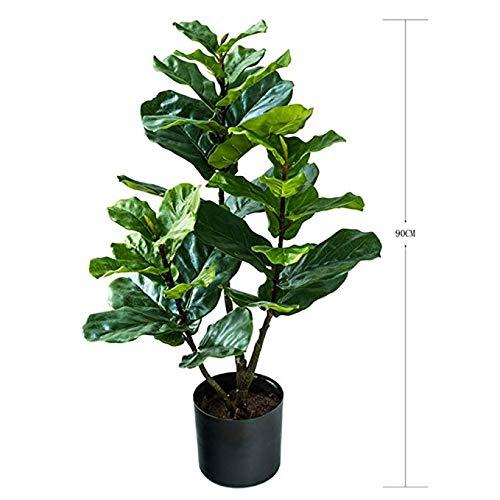 人工観葉植物 ゴムノキ インドゴムノキ ゴムの木 フィカス エラスティカ 人工樹木 造花 花材 インテリアグリーン フェイクグリーン (3-Feet) B07J2DW25C  3-Feet