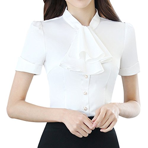 E.JAN1ST Women's Long Sleeve Shirt Tie Bow Neck Button End Slim Fit Chiffon Blouse, White1, (Ladies Fitted Snap)