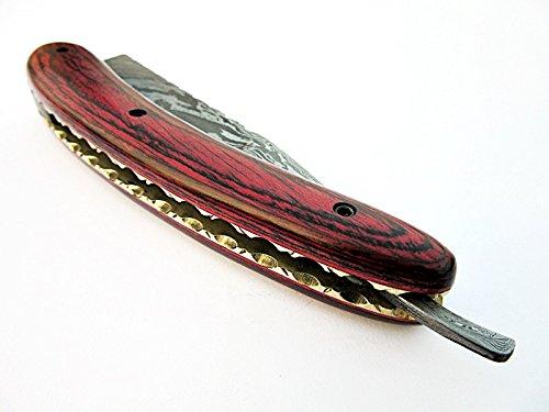 Poshland Knives RZ-2085, Custom Handmade Damascus Steel Straight Razor - Beautiful File Work on Red Doller Sheet Handle by Poshland Knives (Image #6)