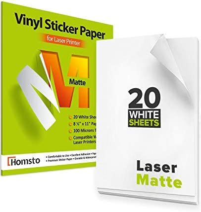 "Premium Printable Vinyl Sticker Paper for Laser Printer - 20 Waterproof Sticker Paper Matte - White Decal Paper - Tear and Scratch Resistant, Quick Dry, Letter Size 8.5"" х 11"" for Laser Printer"