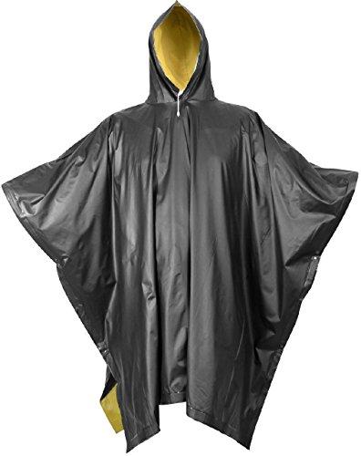 Yellow Reversible High Visibility PVC Outdoor Waterproof Rain Poncho