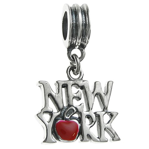 Queenberry Sterling Silver New York City Big Red Apple Enamel European Style Dangle Bead ()