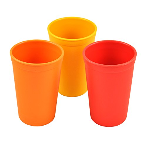 Re-Play Made in the USA 3pk Drinking Cups for Baby and Toddler - Orange, Sunny Yellow, Red (Fall)