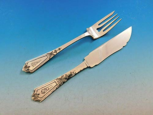 Pattern A by Gorham Sterling Silver Hammered Fish Set Knives Forks 24 Pieces ()