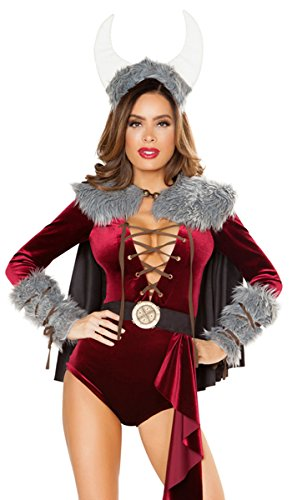 Musotica Sexy Viking Vixen Long Sleeve Lace-up and Faux Fur Romper with Cape - Burgundy/Grey - (Viking Vixen Adult Costumes)