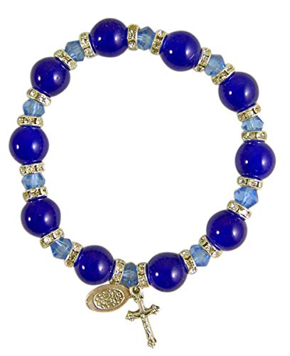 9mm Blue Glass Rosary Bead Stretch Bracelet with Silver-Toned Crucifix and Miraculous Medal, 2 1/2 Inches