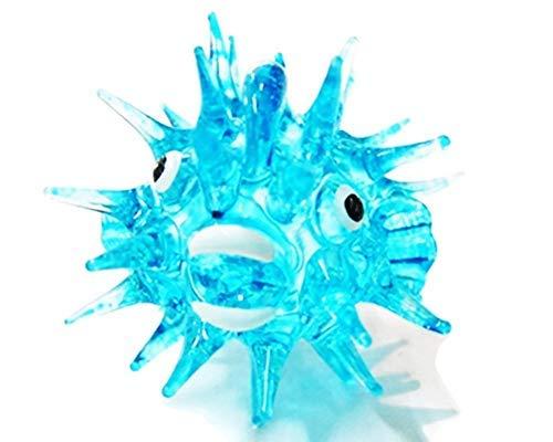 Aquarium MINIATURE HAND BLOWN Art GLASS Blue Puffer Fish FIGURINE Collection