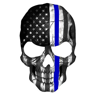 K9King Skull Subdued Thin Blue Line American Flag Sticker. 6 x 4 inch Reflective Police Support Decal: Automotive