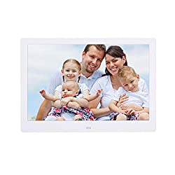 Linbing123 12 inch LCD High Resolution Slim Multifunctional Desktop Digital Photo Frame with MP3 MP4 E-Book Calendar Function with Video Picture Player Advertising Machine,White