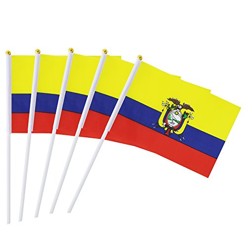 Kind Girl Hand Held Ecuador Flag Ecuadorian Flag Stick Flag Mini Flag 50 Pack Round Top National Country Flags, Party Decorations Supplies for Parades,World Cup,Sports Events,International Festival