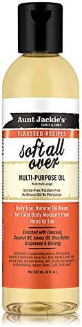 Aunt Jackie's Flaxseed Recipes Soft All Over, Multi-Use Oil for Hair and Body, Enriched with Flaxseed, Avocado, Coconut Oil and Marshmallow Root, 8 Ounce Bottle