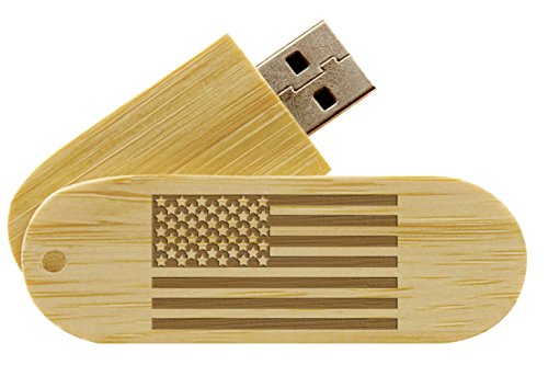 16GB USB Flash Drive Bamboo NDZ US Flag Inverse Alternate -