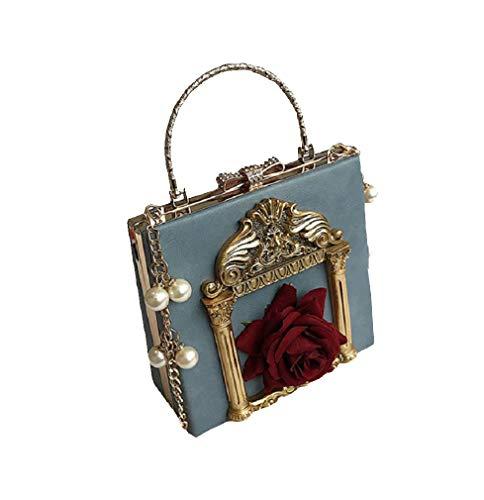 Nite closet Victorian Handbag Gothic Purses Lolita Shoulder Bag for Women Vintage Clutch (Blue)