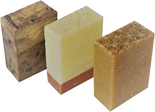 Handmade soap (coffee, coconut and oatmeal&honey) with shea butter, organic ingredients, cold process,artisan, natural, vegan, cruelty free, 3 count(10.5 oz) from Petal Handmade Soaps