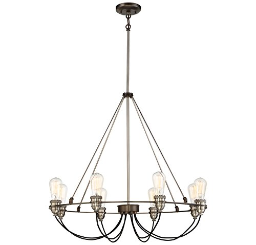 Minka Lavery Minka 4458-784 Restoration Eight Light Chandelier from Uptown Edison Collection in Bronze/Darkfinish, 30.00 Inches 30.00 Incheseight by Minka Lavery
