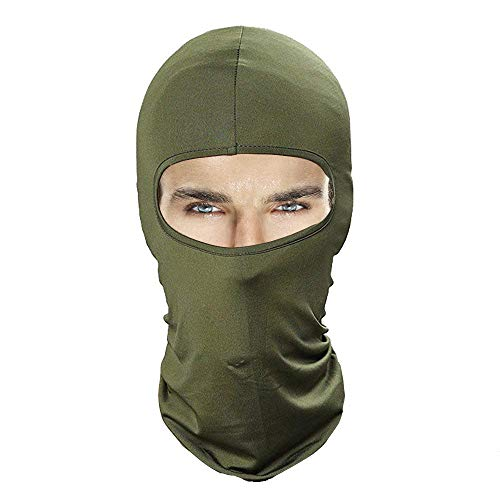 Balaclava Face Mask, Windproof Ski Mask Women & Men, Headwear Neck Warmer for Skiing,Cycling,Motorcycle,Hiking,Snowboarding,Outdoor Sports, Lycra Fabrics UV Protection Tactical Balaclava (Army Green) (Diamond Tactical Full Face Protection Ghost Balaclava Mask)
