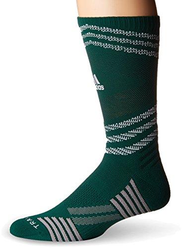 adidas Speed Mesh Basketball/Football Team Crew Socks (1-Pack), Dark Green/White/Green Night/Light Onix, Large