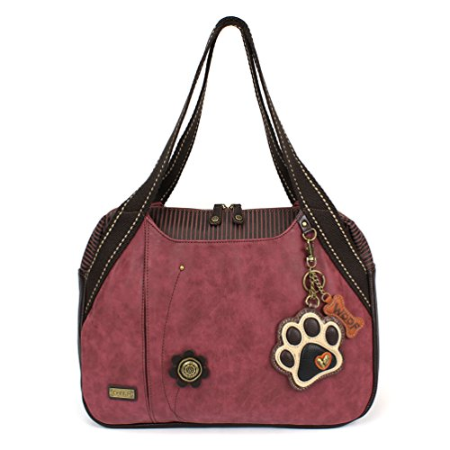 - Chala Large Bowling Tote Bag with coin purse Burgundy (Ivory Paw Print Burgundy)