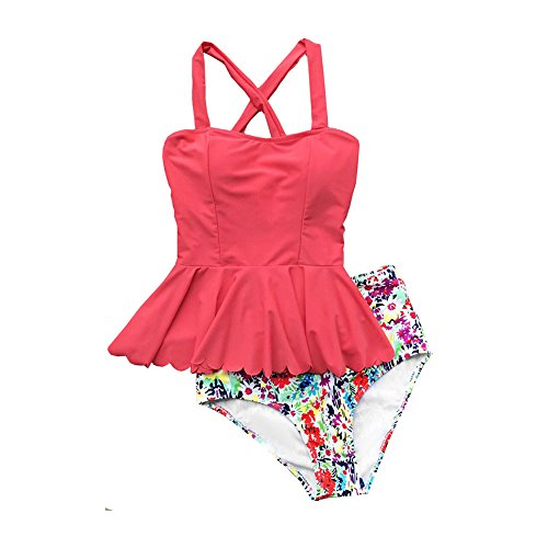 Womens 2 Piece Floral Push-up Padded Tankini High waisted skirtini Swimsuit (L, Pink)