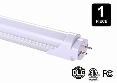 T8 LED Light Tube, 2 Feet, 8 Watt (20 Watt Equivalent), G-13 Base, 4100k Neutral White, Single Ended Power - 1 Pack
