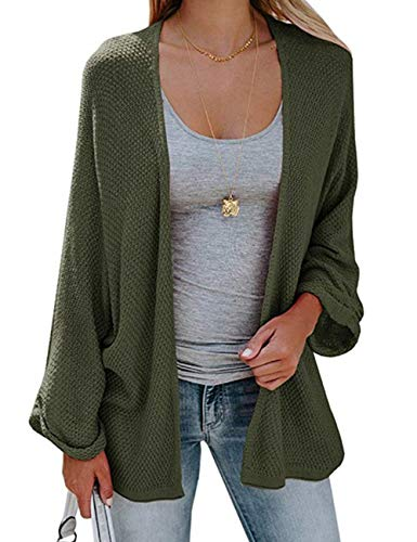 PARIS HILL Softome Womens Long Sleeve Cardigans Oversized Open Front Basic Casual Knit Sweaters Coat Army Green XX Large by PARIS HILL (Image #1)