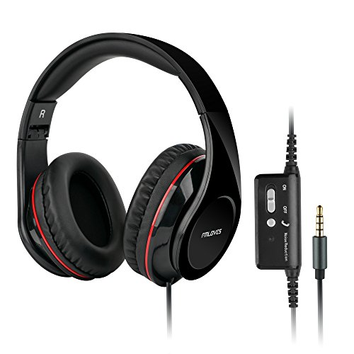 Active Noise-Cancelling Over ear Headphones,Stereo headphones with microphone with Hi-Fi, 20H for music time travel and office computer-Wired, Black from FMLOVES(W2)