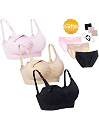 Nursing Bras 3 Pack Maternity Bra Panties Sets with Removable Pads & Underwear for Pregnant