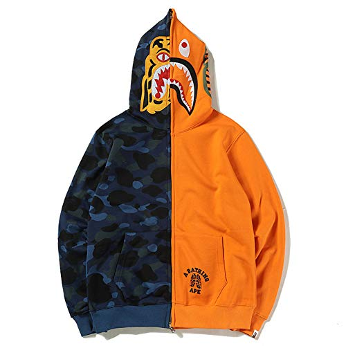 Hoodies Couples Plus Women hot Shark Bape Purple Head Velvet Blue Matching Men Stitching Jacket Tiger Color Style htQxsrCBd