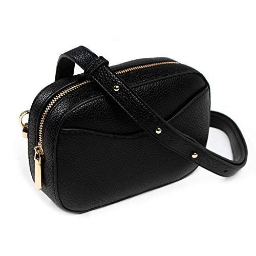 - Premium Multiway Leather Waist Bag Fanny Pack by MODESSE | Size Medium/Large (Fits Women's Sizes 8-14) | Luxuriously Soft Black Pebbled Vegan Leather and Gold Tone Hardware