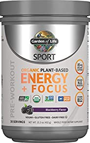 Garden of Life SPORT Organic Plant-Based Energy + Focus Pre Workout Powder, Blackberry Flavor - Clean Preworko