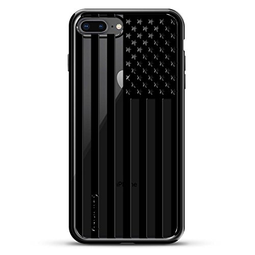 B&W USA FLAG | Luxendary Chrome Series designer case for iPhone 8/7 Plus in Titanium Black trim ()