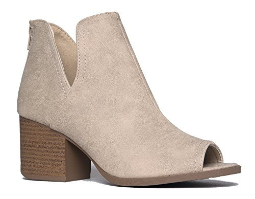 - J. Adams Tabs Western Boots - Cut Out Peep Toe Stacked Low Heel Ankle Bootie