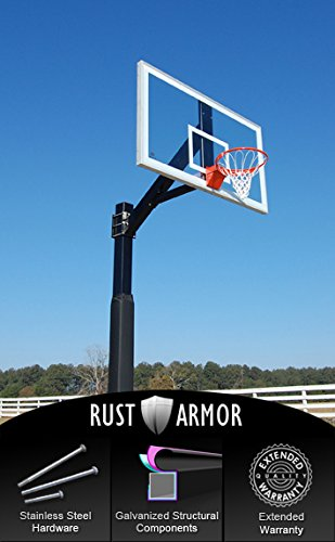 Hercules Platinum - Fixed Height In-ground Basketball Hoop with 1/2 inch Regulation Size Backboard and 6x6 Square Pole