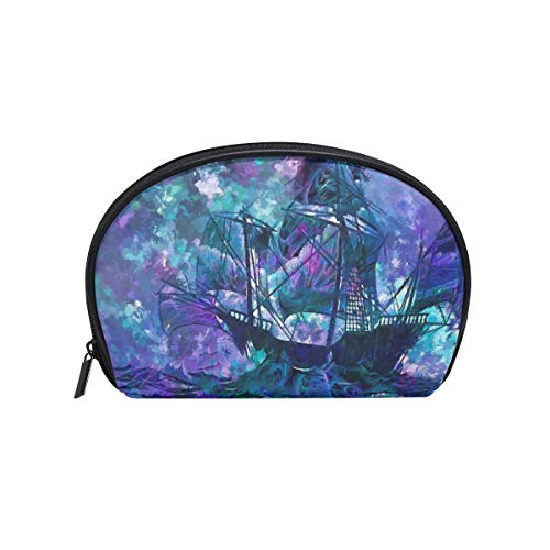 Twill Makeup Bag Small Shell Shape Toiletry Pouch Travel Storage for Women Abstract Sailboat