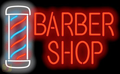 Large Barber Shop w/ Pole Neon Sign by Jantec Sign Group