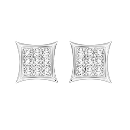 Eternal Bliss 0.05 cttw Round Diamond Accent Square Yuva Kite Stud Earrings in 10kt Gold - Diamond Accent Square Earrings